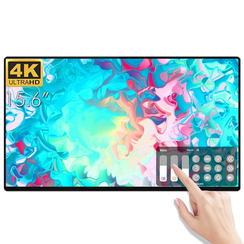 Tipo interativo do monitor portátil do ips do tela táctil do diodo emissor de luz de 2020-c 4k 15.6 Polegada para o computador portátil ps5 do smartphone