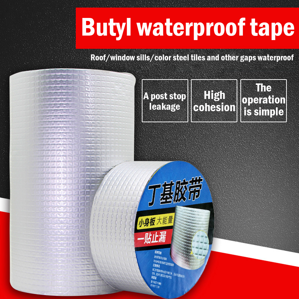 Aluminum Foil Butyl Rubber Tape Self Adhesive High Temperature Resistance Waterproof Tapes For Wall Roof Pipe Repair Sticker