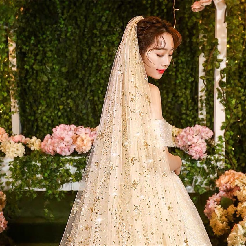 Hot Sell Luxurious Bling Bling Bridal Veils With Comb White Champagne Long Wedding Cathedral Veil Glitter Moon Stars 300X300cm