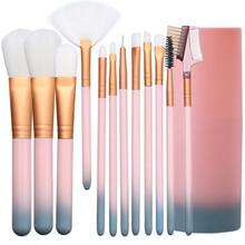 12Pcs/Set Professional Makeup Brushes Tool Eye Shadow Foundation Eyebrow Lip Makeup Brush cosmetics Leather Cup Case Kit недорого