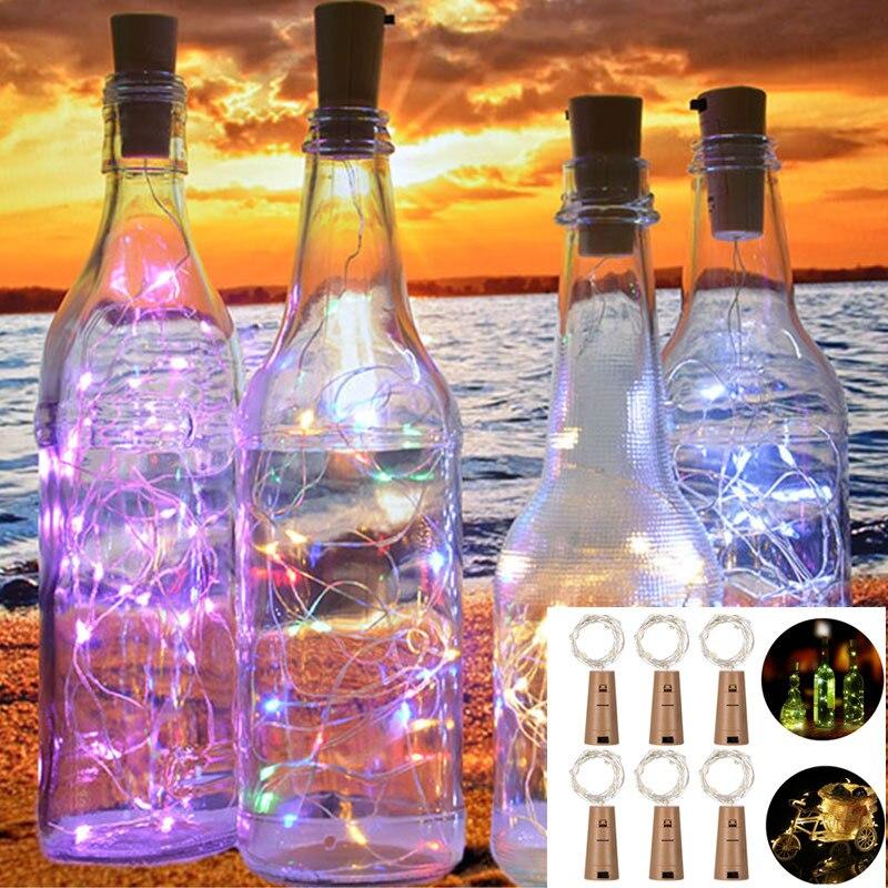 2 м 20 светодиодный светильник для бутылки вина, пробковые лампы на батарейках, Новогодние рождественские украшения для дома, Рождественские...