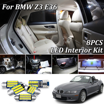 8Pcs White Canbus Error Free led Car interior lights Package Kit for BMW Z3 E36 Roadster Coupe Convertible (1996-2002) image