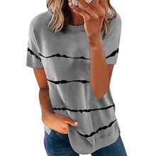 Snake YX abbigliamento donna primavera ed estate nuova moda T-shirt a maniche corte allentata a righe stampata Tie-dye Plus Size