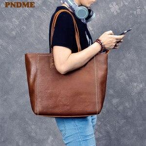 PNDME модная винтажная Высококачественная Мужская сумка из натуральной кожи, Большая вместительная сумка из воловьей кожи, Роскошная большая...