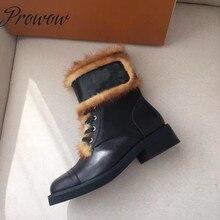 Prowow/Новинка; теплые зимние сапоги из натуральной кожи на шнуровке; женские ботильоны на низком каблуке с круглым носком и мехом норки