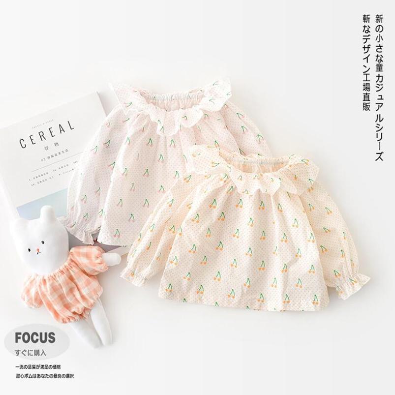 Adorable petal collar newborn baby girls blouse Spring autumn full cherry printing long sleeve kids shirt for girls tops childre