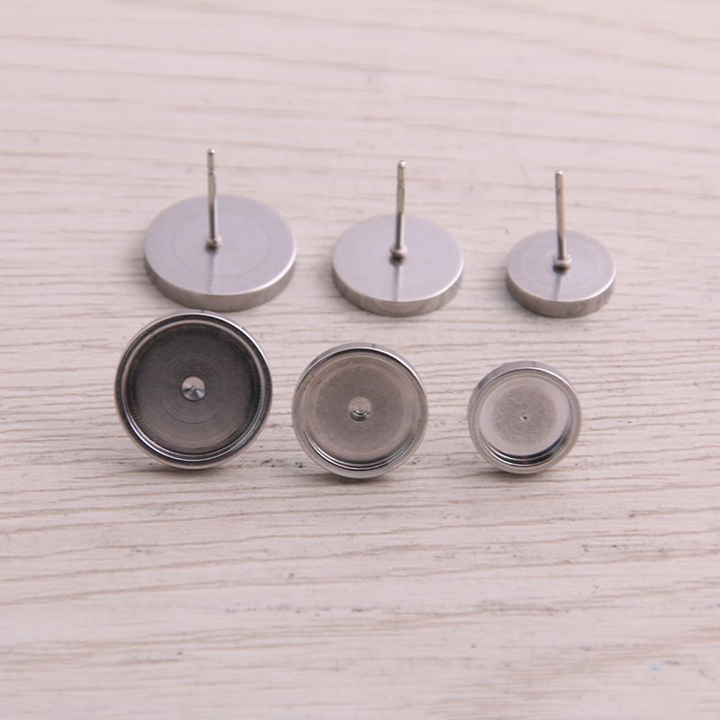 20pcs Stainless Steel Post Stud Earring Base Settings 8mm 10mm 12mm Dia Blank Cabochon Bezel Findings