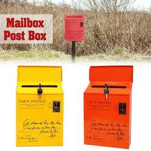 Iron-Lock Mailbox Newspaper Postal Letter-Box Wall-Mount Vintage 30--23--6cm C0Z0 5colors