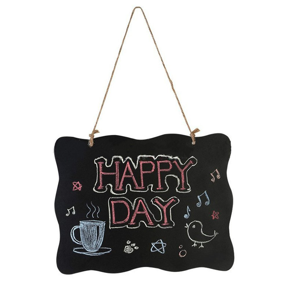 Hanging Wooden Blackboard Double Sided Erasable Chalkboard Wordpad Message Wave Type Black Board Office School Supplies