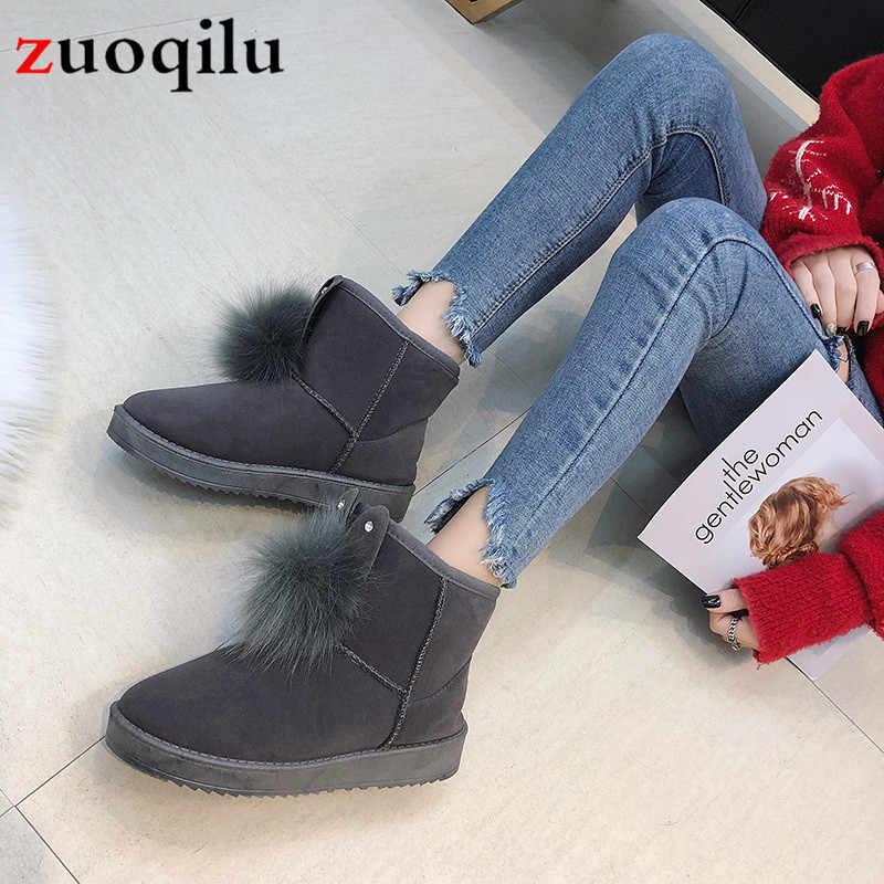 Kar botları 2019 sıcak kadın botları düz platformu kış ayakkabı tavşan kulaklar saç topu çizmeler öğrencileri ayakkabı kaymaz pamuklu bot