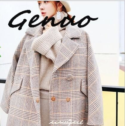 Genuo New 2019 Vintage Chic Plaid Woolen Loose Coat Woman Tailored Collar Short Wool Overcoat Casual Winter Outerwear