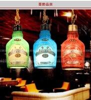 Moda vintage garrafa de vinho suspensão luminária luzes pingente lamparas personalizado barra decoração lâmpada hanglamp|Luzes de pendentes| |  -