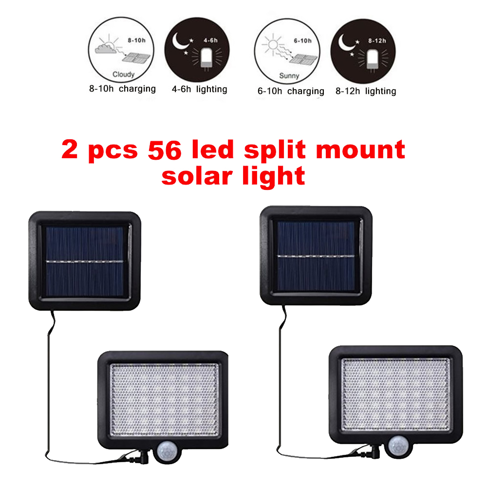 2/4pcs LED Solar Light 100/56/30 Led PIR Motion Sensor Powered Street Lamps Garden Outdoor Energy Lighting Waterproof IP65 Wall