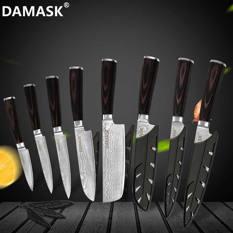 Damask Damascus Knives 5 Inch Utility Kitchen Knife Color Wood Handle 73 Layer VG10 Japanese Damascus Steel Knives Cutting Tools