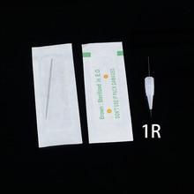 المتاح تعقيم المهنية الوشم الإبر 1RL ل الوشم الحاجب القلم آلة مجموعة تجميل دائمة 100 قطعة PMU الإبر 1R