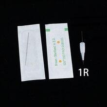 Einweg Sterilisiert Professionelle Tattoo nadeln 1RL für Tattoo Augenbrauen Pen Maschine Permanent Make Up Kit 100PCS PMU Nadeln 1R