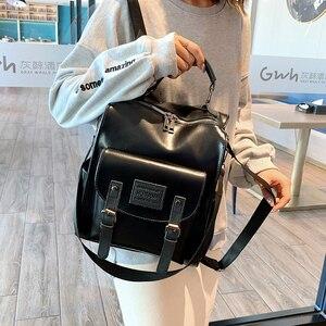 Image 4 - Femmes en cuir PU sac à dos femme mode sac à dos marque concepteur Vintage sac à bandoulière Mochila Escola sac décole sac à dos Mochila