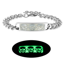2019 New Fashion Couple Luminous Bracelet Glow in the Dark Party Punk Jewelry Classic Stainless Steel Silver