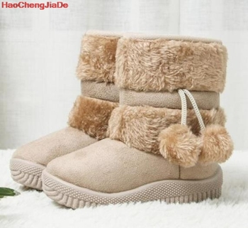 Winter Children's Snow Boots Kids Leather Shoes Plush Cotton Boots Slip-On Waterproof Girls Boots Fashion Kids Ankle Boots