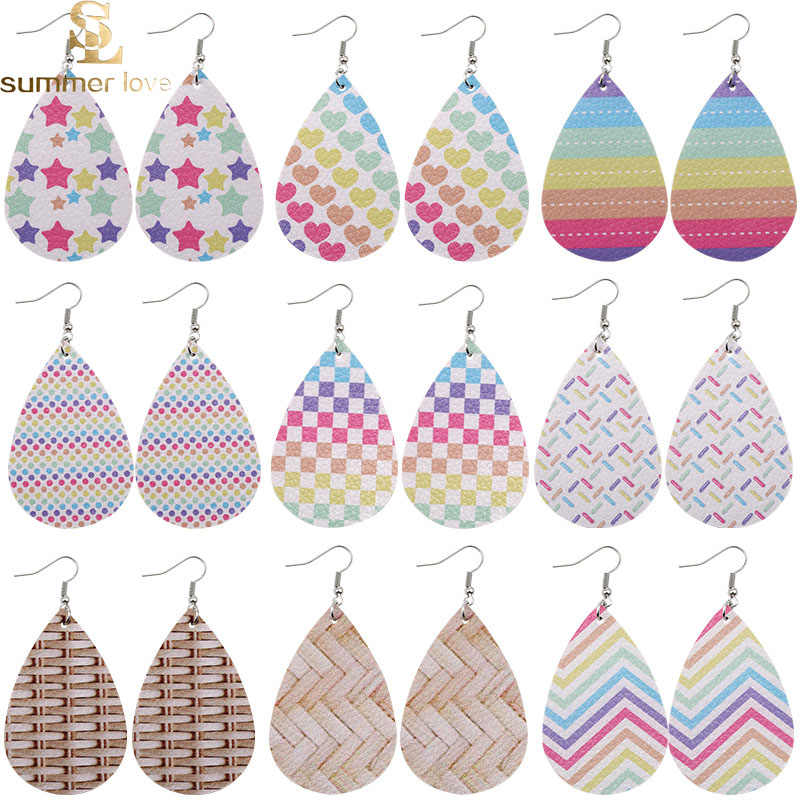 Animal Print Leather Teardrops Fast Shipping Faux Leather Rainbow