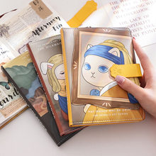 Kawaii Cat DIY Journal Notepad Renaissance Series PU Magnetic Button Color Page Planner To Do List Checklist Stationery Supplies