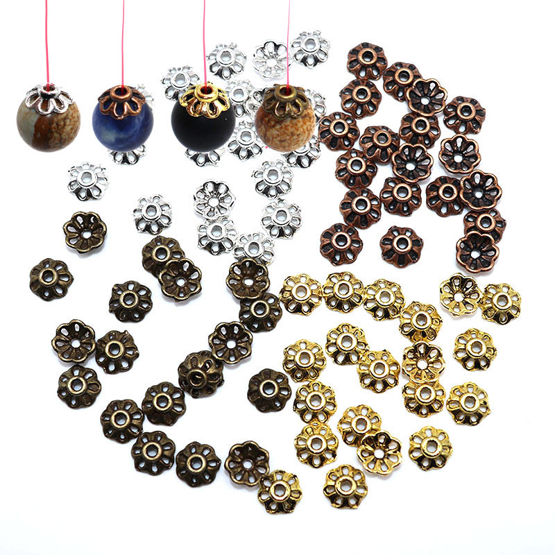 100pcs/lot 8mm Flower Petal Beads Caps Charms Jewelry Supplies Bead Cap Silver Plated For Jewelry Making Supplies