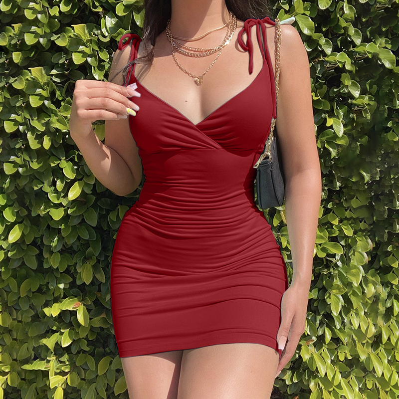 Womens Spaghetti-Strap Bodycon Dresses