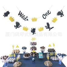 Party Decorations Supplies Lettered Hanging Flag Wild ONE Cake Decorative Flag Mall Showcase Banner Pendant Set(China)