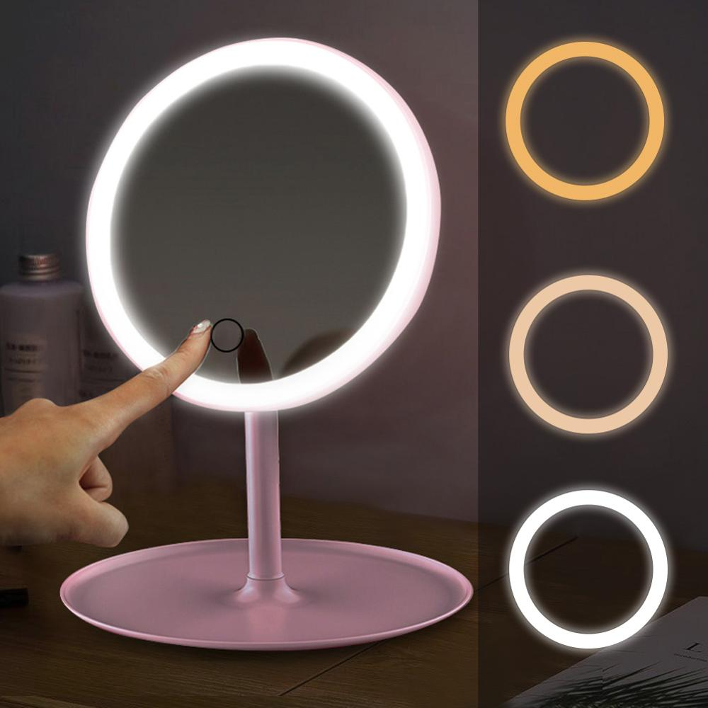 LED Makeup Mirrors With Ring Light HD Vanity Mirrors Smart Touch Control Illuminated Stand Up Desk Table Mirror USB Charge