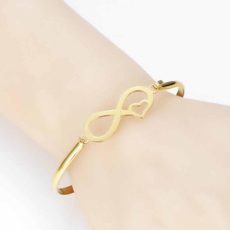 Женские браслеты из нержавеющей стали, очаровательные браслеты с золотым покрытием, любовные Браслеты, роскошные Простые Ювелирные изделия, свадебный подарок
