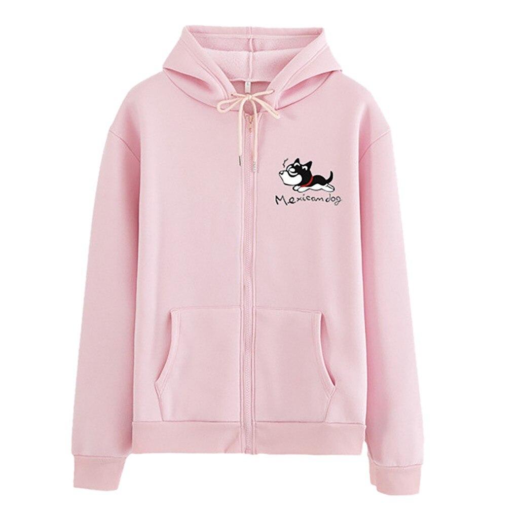 Feitong Hoodies Sweatshirt Woman Fashion Casual Loose O-Neck Cat Print Zipper Hoodie Printed Pullove Coat толстовка женская