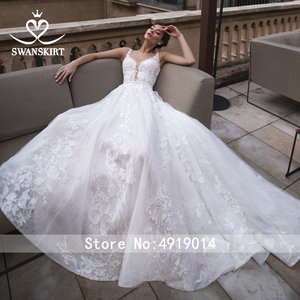 Image 4 - Vestido De Noiva Appliques Lace A Line Wedding Dress 2020 Sweetheart Sleeveless Court Train Crystal Bridal Gown Swanskirt K183