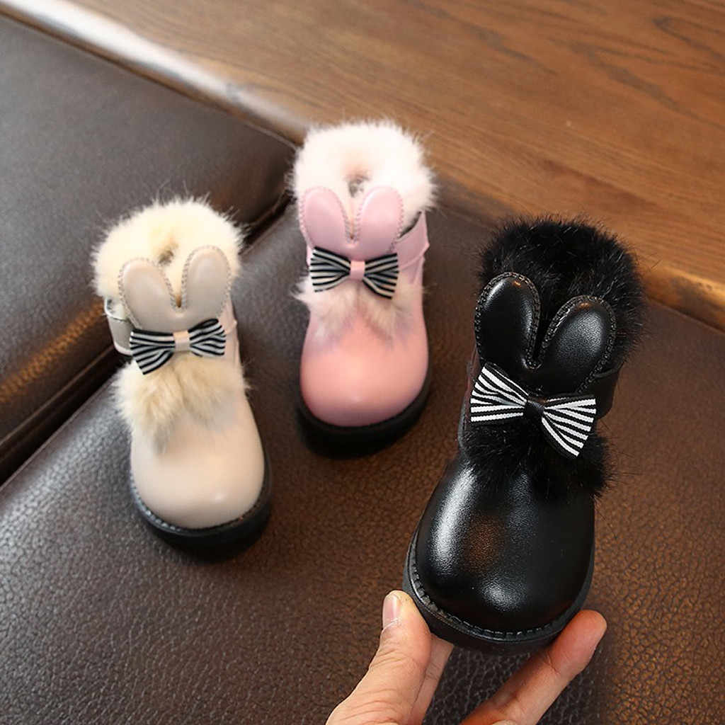 winter baby girl boots New Fashion Children's Lightweight Bow British Plus Cotton Princess Booties winter snow boots for girls