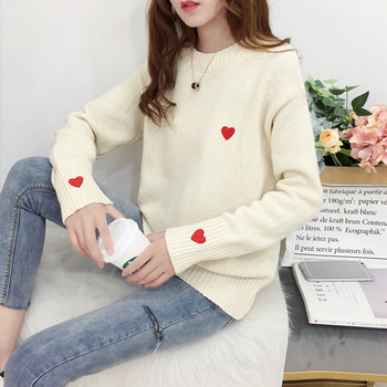 Ailegogo Autumn Winter Knitted Heart Printed Women Pullovers Sweater Casual Woolen Warm O-neck Long Sleeve Female Sweater 6