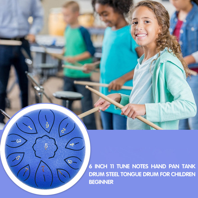 6 inch 8/11 Tune Percussion Musical Instrument Steel Tongue Drum for Beginner Tune Hand Drum Pad Sticks Carrying Bag Percussion Drum    -
