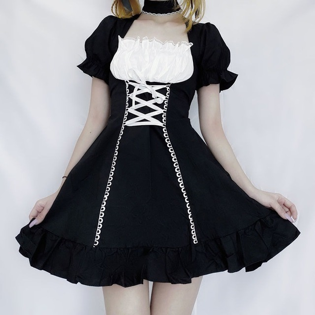QWEEK Women's Maid Dress Kawaii Lolita Outfit French Maid Costumes Cosplay Bandage Dress Sexy Waitress Dress Puff Sleeve Uniform 3