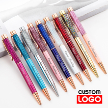 Creative Gold Foil Oil Pen Crystal Wafer Pen High-grade Metal Signature Pen Custom LOGO Lettering Engraved Name Stationery new engraved name pen gold foil metal ball point pen custom logo company name writing stationery gift office school pen with box