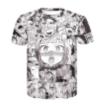 Ahegao T Shirt Summer 2020 Anime Top Short Sleeved Fashion T-shirt Hip Hop Short Sleeved Fun Casual T-shirts for Men and Women image