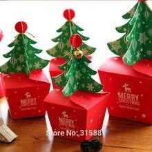 メリークリスマスツリーギフトボックス、クッキー cholocate 食品紙箱アップルボックス、クリスマスギフトボックス 30 ピース/ロット