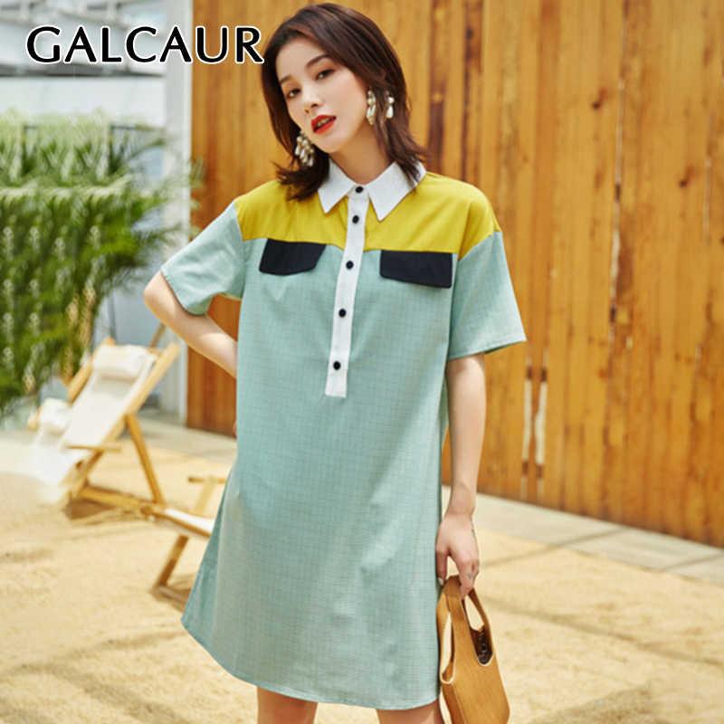 GALCAUR лоскутное хит цвет платья для женщин воротник с лацканами короткий рукав свободное платье женский корейский 2019 мода лето новый