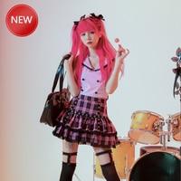 Woman SkirtsJapanese Design Lace Red Plaided Skirt Hot Girl Punk Sweet Lolita Cake Mini Skirt 2020 Women Summer