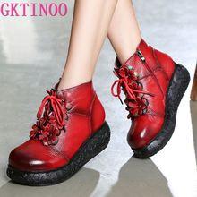 GKTINOO buty na platformie damskie ręcznie robione buty do kostki ze skóry naturalnej damskie buty miękkie Retro kliny buty dla kobiet