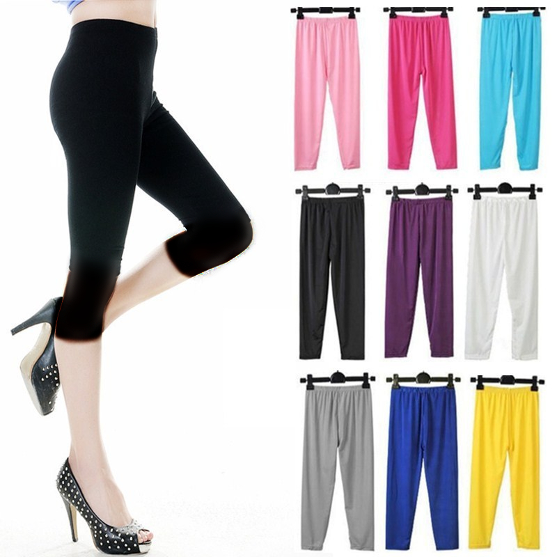 Ice Silk Leggings Summer Women Short Leggings Elastic Slim Thin Cropped Pants Girl Lady Basic Trousers Bodycon Casual Jegging