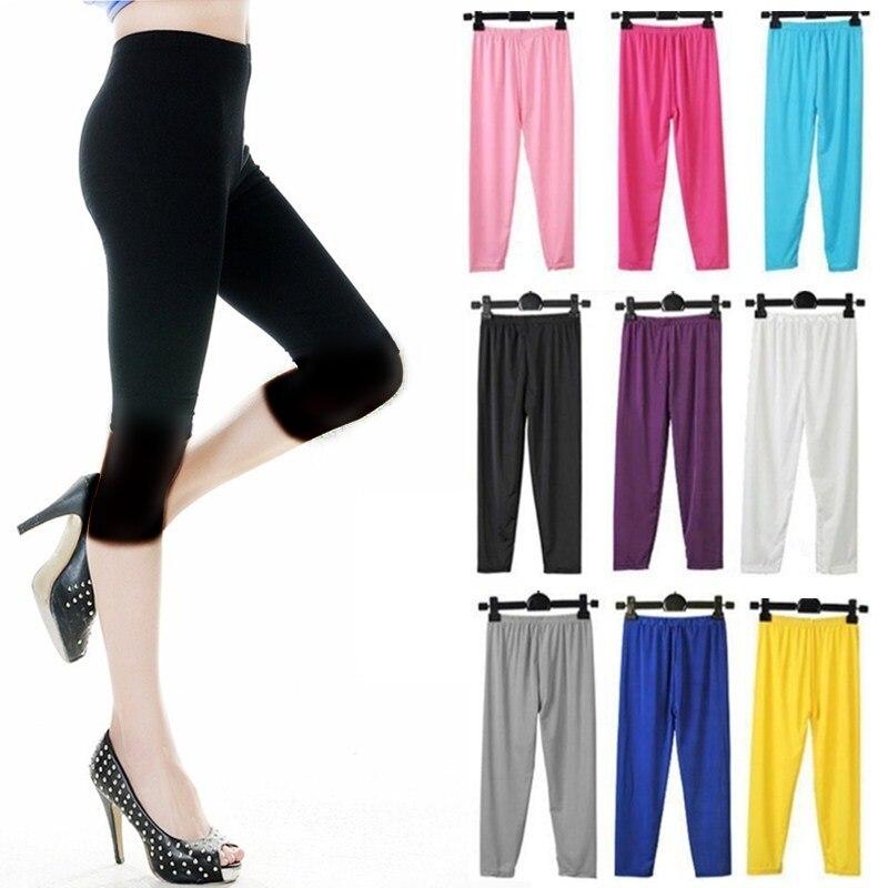 Ice Silk   Leggings   Summer Women Short   Leggings   Elastic Waist Slim Cropped Pants Girl Basic Trousers Bodycon Jegging Casual