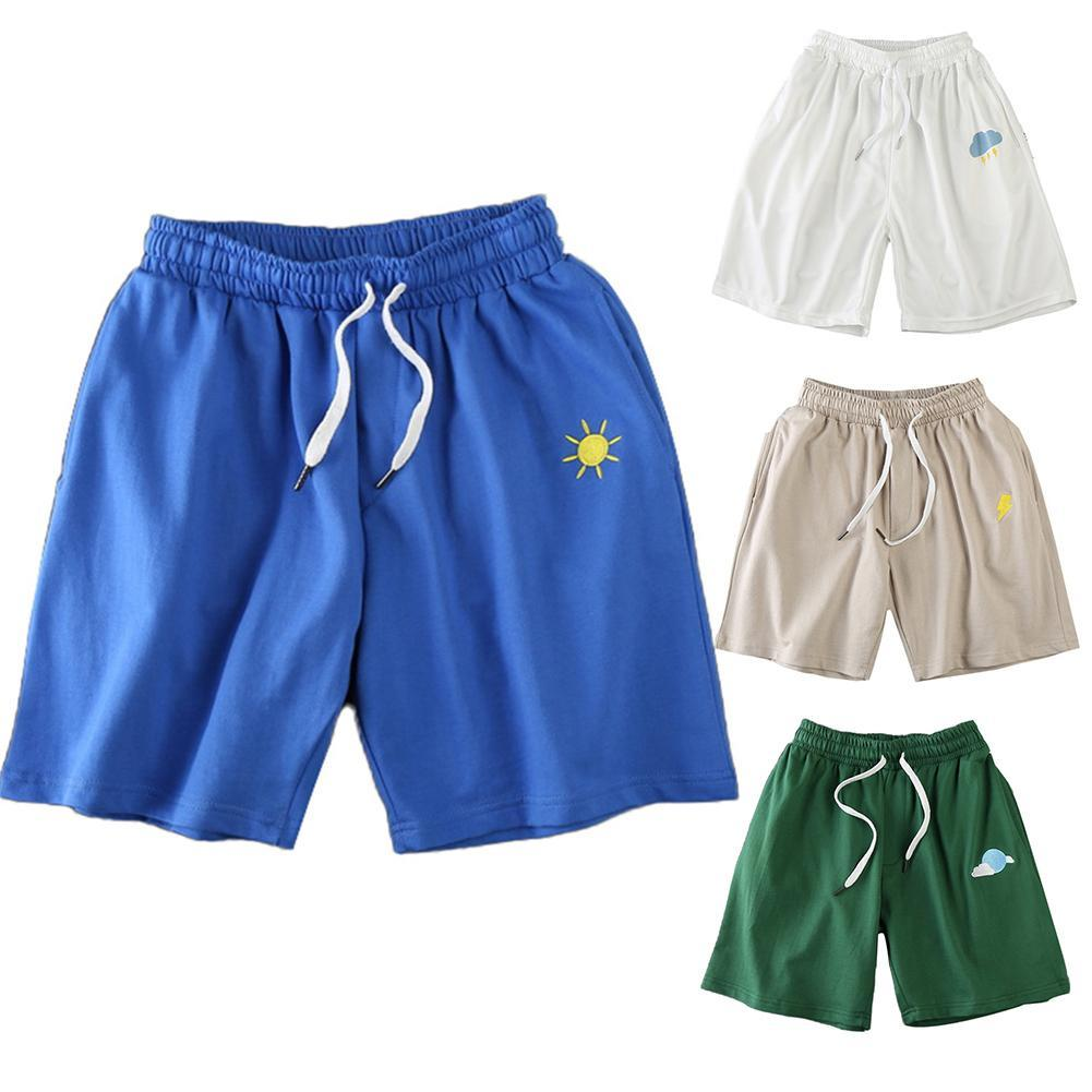 Men Sun Moon Quick Drying Drawstring Elastic Fifth Pants Board Sports Shorts 1