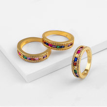 Fancy CZ Crystal Rainbow Ring Band Zirconia 2019 Ladies Pave Colored Gold Baguette Rings For Women Gold Jewellery Wholesale(China)