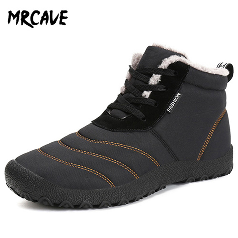 MRCAVE Winter Boots For Men Warm Fur Waterproof Anti-slip Boots Shoes Plush Men's Ankle Snow Boot Keep Warm Size 39-48