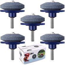 5 Packs Lawn Mower Blade Sharpener for Any Power Drill Hand knife-sharpener(5 pcs Blue)