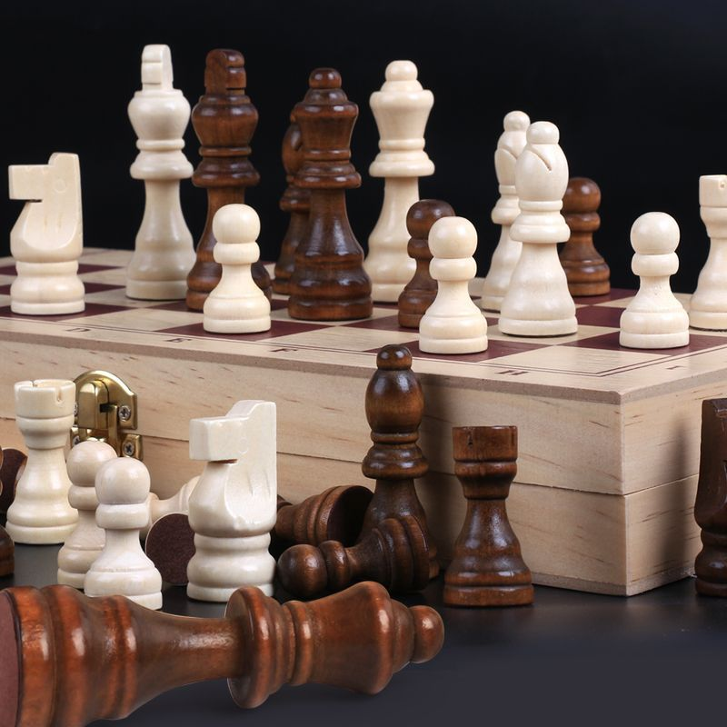 Wood Large Size Chess Set CHILDREN'S Wooden Toy Parent And Child Game Wooden Box Folding 34*34 Cm