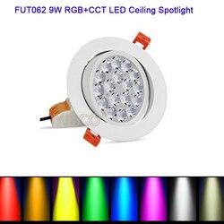 Miboxer 9W RGB + CCT reflektor sufitowy LED FUT062 AC86-265V okrągła jasność regulowana bezprzewodowa sterowanie przez wifi led typu Downlight